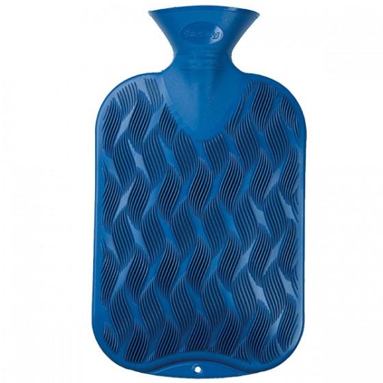 Warmwaterkruik - 1 golvend geribbeld, 1 gladde zijde blauw
