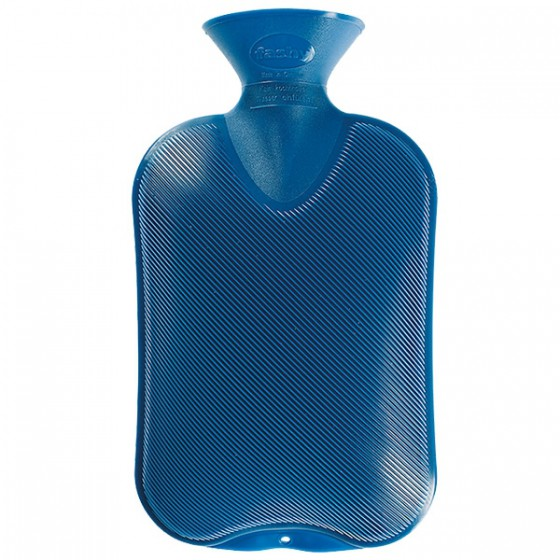 Warmwaterkruik - Enkelzijdig geribbeld blauw
