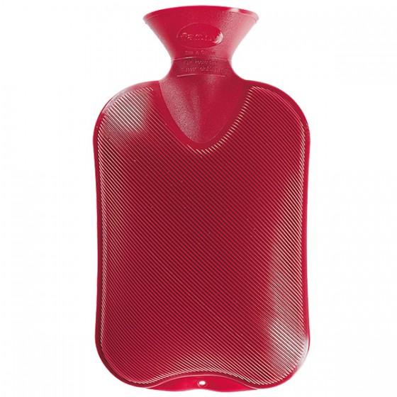 Warmwaterkruik - Enkelzijdig geribbeld rood