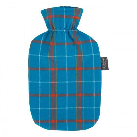 Warmwaterkruik - Met blauw geruite hoes