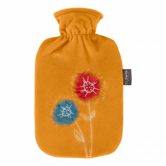 Warmwaterkruik - Zachte hoes geel met bloemen