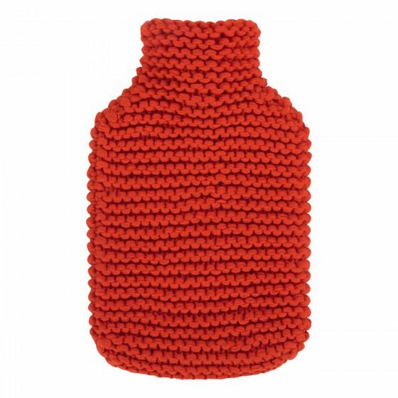 Warmwaterkruik - Met zachte gebreide hoes rood