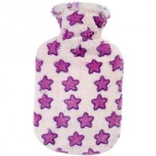 Warmwaterkruik - Roze met paarse sterren pluche hoes
