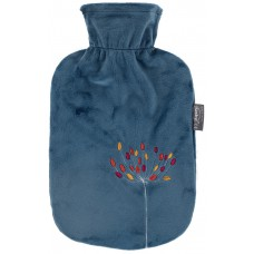 Warmwaterkruik - Zachte hoes petrol blauw met bloem